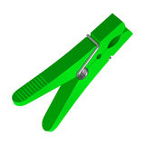 Green plastic clothes pin Royalty Free Stock Photo