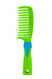 Green plastic comb. On a white background Stock Photography