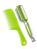 Green plastic comb and hairbrush Stock Image