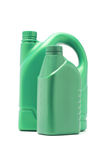 Green plastic containers for motor oil Royalty Free Stock Photo