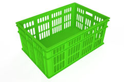 Green plastic crate Stock Image