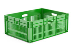 Green plastic crate, 3D rendering Royalty Free Stock Images