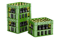 Green plastic crates with beer bottles, 3D rendering. On white background Royalty Free Stock Image