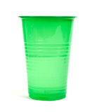 Green plastic cup. Isolated on white background Royalty Free Stock Photos
