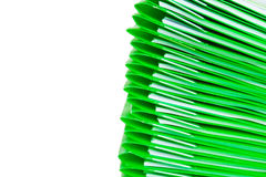 Green plastic folders. Stack of green plastic folders in white background Royalty Free Stock Images
