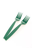 Green plastic forks Stock Photography