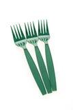 Green plastic forks Stock Images