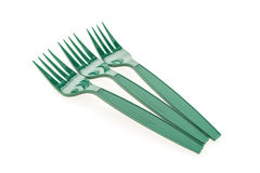 Green plastic forks Stock Photos