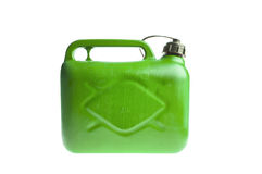 Green plastic fuel canister isolated Stock Photos
