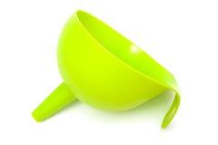 Green plastic funnel Stock Photo