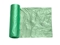 Green plastic garbage bags Royalty Free Stock Image