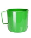 Green plastic mug. Isolated on white background Royalty Free Stock Photo