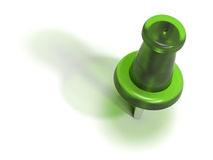 Green plastic pushpin or thumbtack - accept Royalty Free Stock Image