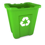 Green plastic recycle bin Royalty Free Stock Images
