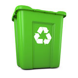 Green plastic recycle bin. 3D model of empty green plastic recycle bin Royalty Free Stock Photo