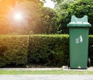 Green plastic recycle bin Royalty Free Stock Image