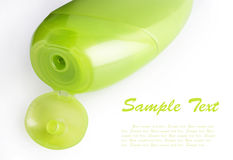 Green plastic shampoo bottle Royalty Free Stock Images
