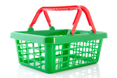 Green plastic shopping basket Royalty Free Stock Photos