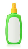 Green plastic spray bottle with blank label Stock Images