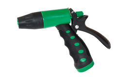 Green plastic sprayer for garden Stock Photo