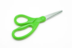 Green Plastic and Stainless Steel Scissors Stock Photos