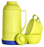 Green plastic thermos Royalty Free Stock Photography
