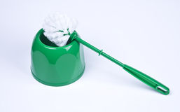 Green plastic toilet brush Royalty Free Stock Images