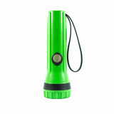 Green plastic torch flashlight isolated Royalty Free Stock Photography