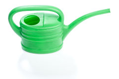 Green plastic toy watering can Stock Image