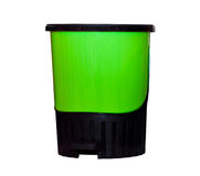 Green plastic trash can isolated Royalty Free Stock Images