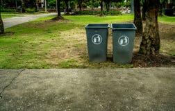 Green plastic Trash can Stock Photo