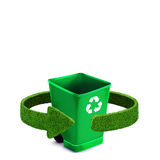 Green plastic trash recycling container ecology concept, isolation on white Royalty Free Stock Photography