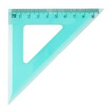 Green plastic triangle centimeter ruler Stock Images