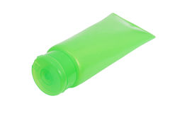 Green plastic tube with closed  flip top lid Royalty Free Stock Photos