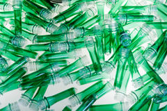 Green plastic tubes. In backlight Stock Images