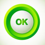 Green plastic vector ok button. This is file of EPS10 format Stock Image