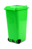 Green Plastic Waste Container Or Wheelie Bin, Isolated On White Stock Photo