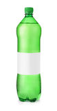 Green plastic water bottle with blank label Stock Photo