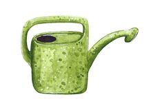 Green plastic watering can, hand drawn watercolor illustration vector illustration