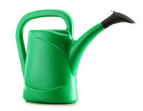 Green plastic watering can on white Stock Photography