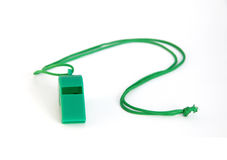 Green plastic whistle Royalty Free Stock Photography