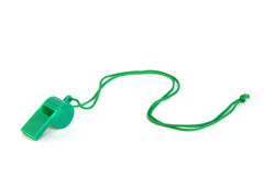 Green plastic whistle Royalty Free Stock Images