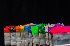 Green plastisol ink in tee shirt factory Stock Image