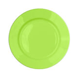 Green plate isolated top view Stock Photo