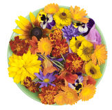 Green plate and orange flowers Stock Photo