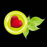 Green plate with a red heart on a black background Royalty Free Stock Photos
