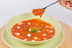 Green plate of tomato soup Royalty Free Stock Images