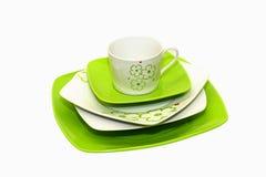Green plates Stock Image