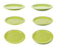 Green plates or dishes isolated clipping path Royalty Free Stock Images