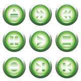 Green playback button Stock Photos